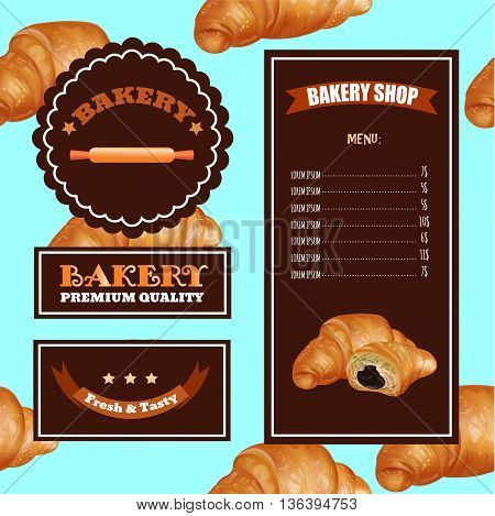 Baking Menu Design. Baking Shop Cafe Market. Pattern with Croissant Emblems and Logo. Template for Price.