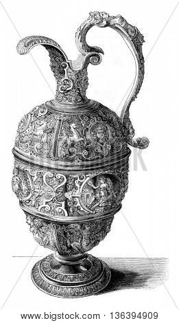 Museum of Cluny, Pewter Ewer, vintage engraved illustration. Magasin Pittoresque 1852.