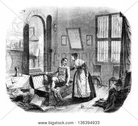 Grotius and his wife in the fortress of Lowenstein, vintage engraved illustration. Magasin Pittoresque 1852.