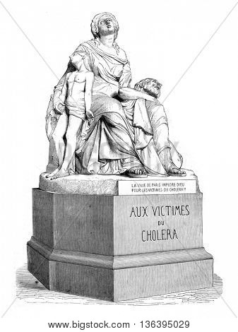 1852 Sculpture Show, Cholera, vintage engraved illustration. Magasin Pittoresque 1852.