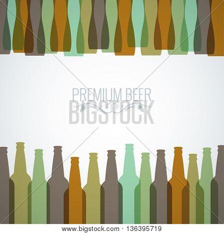 beer bottles with glasses design background 10 EPS
