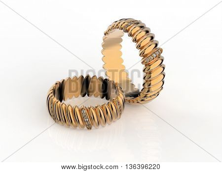 3D illustration of gold Ring with Diamonds. Jewelry background. Fashion accessory