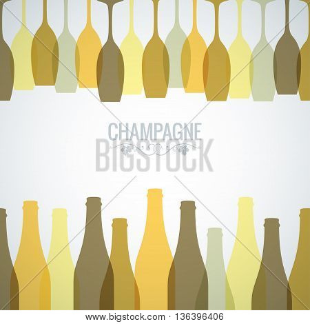champagne bottle glass design background 10 eps
