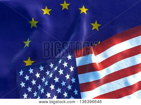 Flags of the USA and the European Union. USA Flag and EU Flag. 3D render