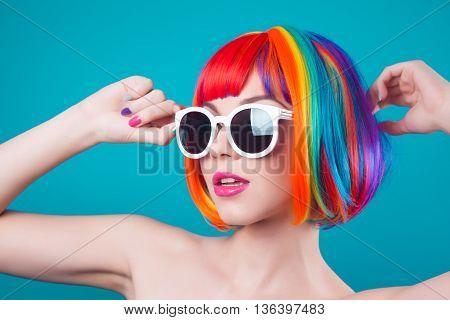 Beautiful Woman Wearing Colorful Wig