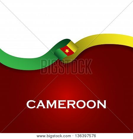 Cameroon Sport Style Flag Ribbon Classic Style. Vector Illustration
