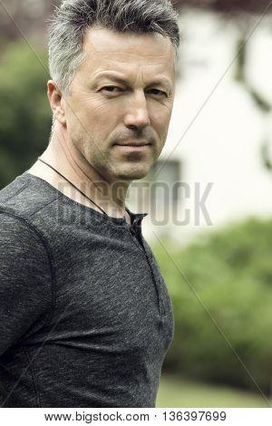 Handsome man. Outdoor male portrait.