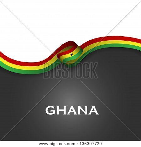 Ghana Sport Style Flag Ribbon Classic Style. Vector Illustration