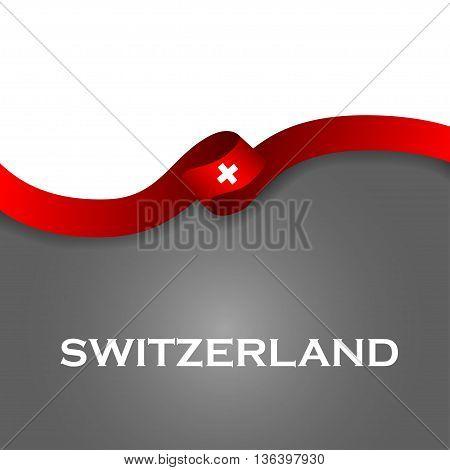 Switzerland Sport Style Flag Ribbon Classic Style. Vector Illustration