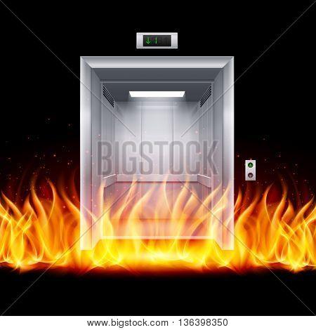 Realistic Empty Modern Elevator Door in Fire