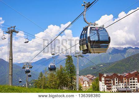 Sochi Russia - June 28: Cable car in the scenic mountains at the summer in June 28 2016 in Sochi Russia