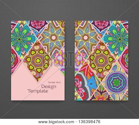 Colorful ornamental ethnic booklet set. Flyer template vivid patchwork pattern vector design editable. Islam Arabic Indian ottoman. Mandala motifs.