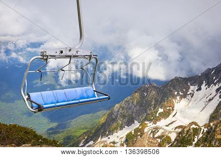 Cable Car In The Scenic Mountains At The Summer