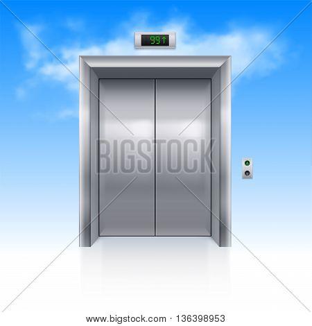 Realistic Metal Modern Elevator with Closed Door in Sky