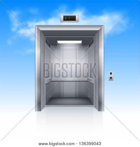 Realistic Empty Modern Elevator with Open Door in Sky