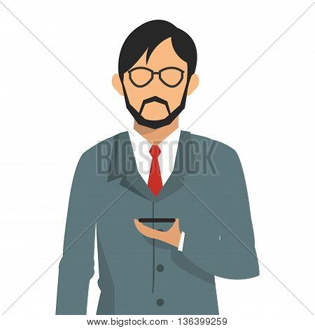 simple flat design businessman holding cellphone icon vector illustration