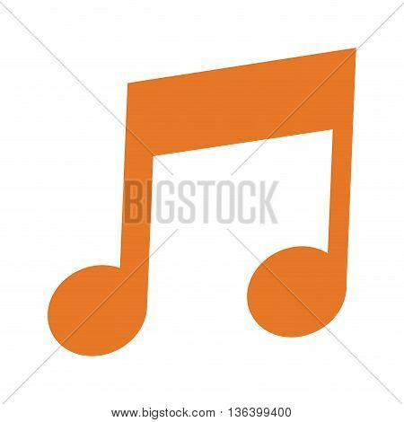 simple flat design orange eighth note icon vector illustration