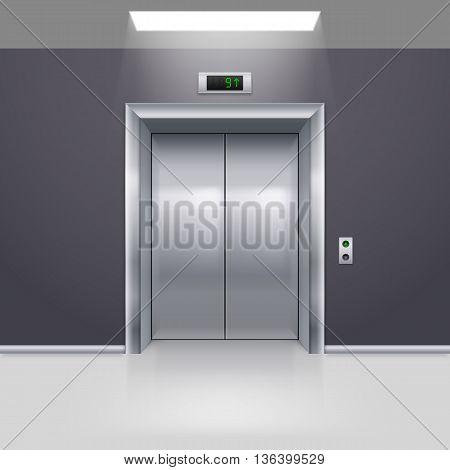 Realistic Metal Modern Elevator with Closed Door on Floor