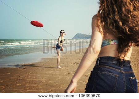 Enjoyment Beach Life Holiday Happiness Concept