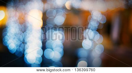 City Light Nightlife Defocused Blurred Glowing Abstract Concept