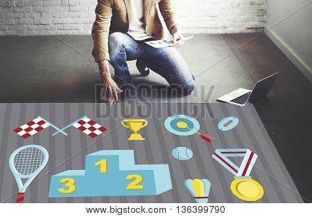 Podium Prize Reward Award Champion Victory Concept
