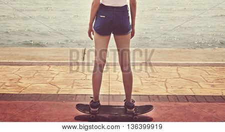 Skate Beach Casual Tranquil Solitude Vacation Concept