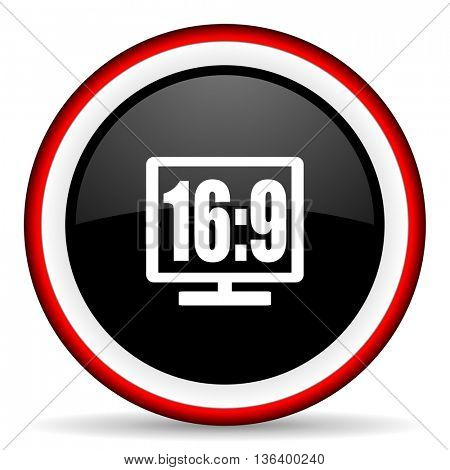 16 9 display round glossy icon, modern design web element