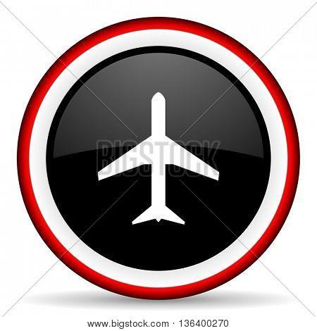 plane round glossy icon, modern design web element