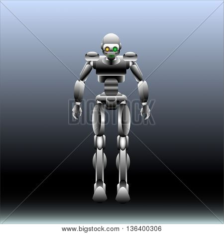 vector illustration of a chrome robot on a gray background