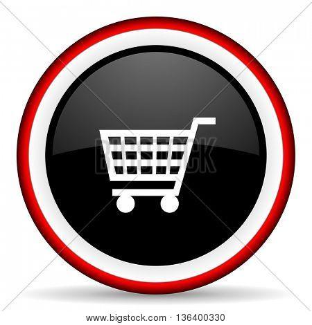 cart round glossy icon, modern design web element