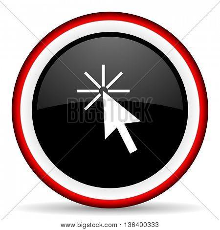 click here round glossy icon, modern design web element