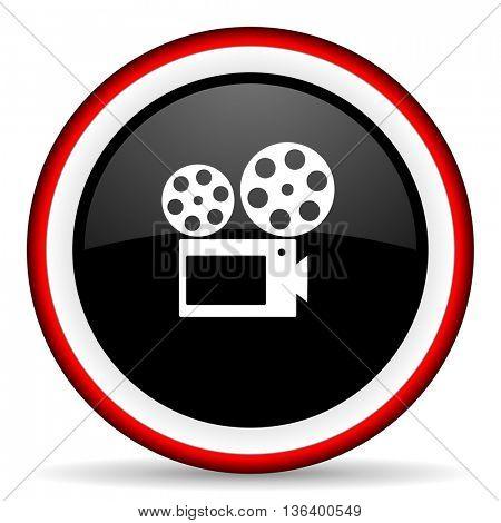 movie round glossy icon, modern design web element