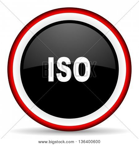 iso round glossy icon, modern design web element