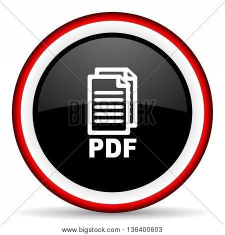 pdf round glossy icon, modern design web element,