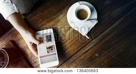 Girl Relax Coffee Cafe Mobile Concept