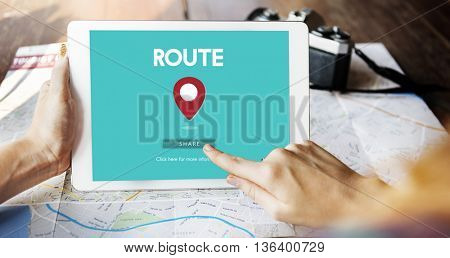 Route Map Navigation Track Places Concept