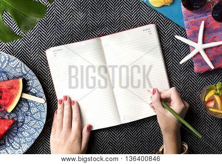Hands Writing Journal Desk Concept