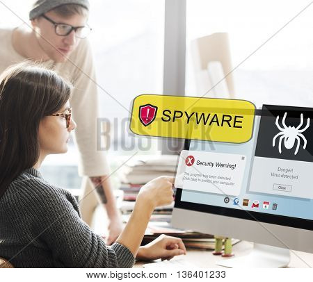 Spyware Computer Hacker Virus Malware Concept