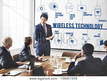 Wireless Technology Connected Drones Technology Concept