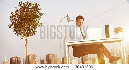 Business Man Green Office Rooftop Concept