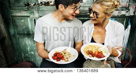 Couple Traveling Eating Together Concept