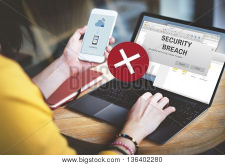 Security Breach Cyber Attack Computer Crime Password Concept