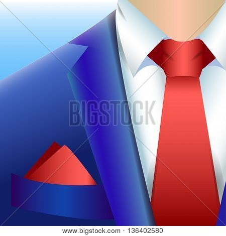 vector illustration blue business suit with a red tie