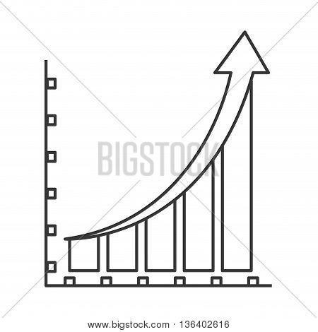 simple black line bar graph icon vector illustration