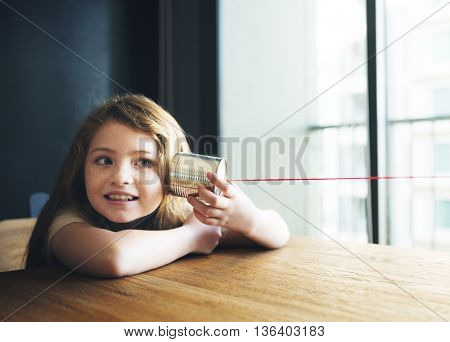 Girl Listening Audio Casual Communication Relax Concept