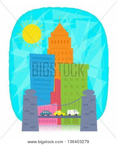 Colorful city icon with skyscrapers and a bridge with cars. Eps10