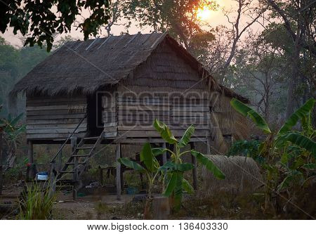 Country wooden house in the morning in Cambodia