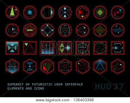 Set of conceptual futuristic display interface elements. Round square and hexagonal shaped icons. Raster version