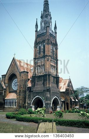 The Holy Trinity Cathedral is the Anglican cathedral in Rangoon, Burma (now called Myanmar), circa 1987.