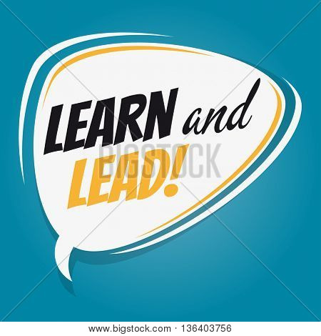 learn and lead retro speech bubble